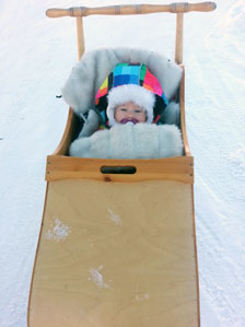 Baby in sledge