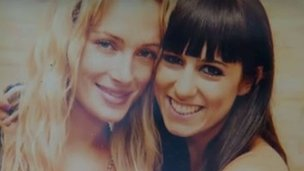 A photo of model Reeva Steenkamp with a member of the Myers family