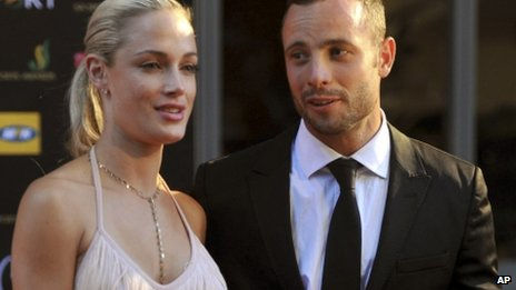 South African Olympic athlete Oscar Pistorius and Reeva Steenkamp arrive for an awards ceremony in Johannesburg, South Africa in November 2012