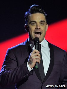 Robbie Williams at the Brits