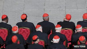 Cardinals watch Pope Benedict's last appearance