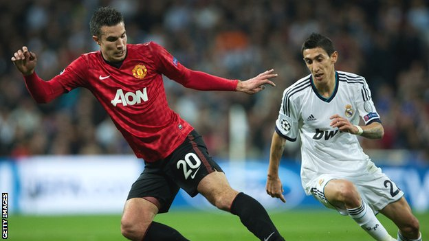 Manchester United striker Robin van Persie in action against Real Madrid
