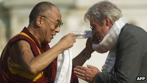 Richard Gere (r) with the Dalai Lama