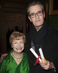 Rupert Everett with Ruth Leon, Sheridan Morley's widow