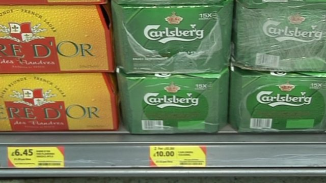 Crates of beer on special offer