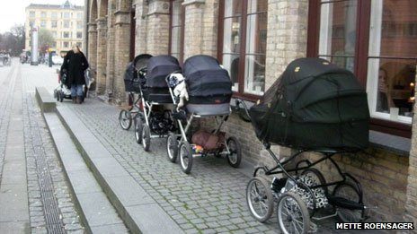Prams outside Copenhagen cafe