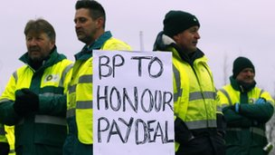 Striking tanker drivers at Grangemouth at the weekend