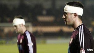 Hearts' Darren Barr and Danny Wilson