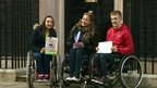 Paralympic athlete Hannah Cockcroft and ambassadors from charity Whizz Kids outside of No. 10 Downing Street.