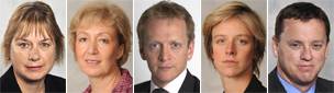Left to right: Angie Bray, Andrea Leadsom, Phillip Lee, Charlotte Leslie, and Rob Wilson
