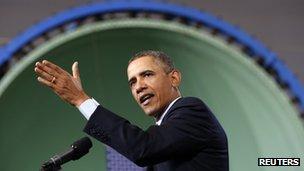 US President Obama speaks in Newport News, Virginia 26 February 2013