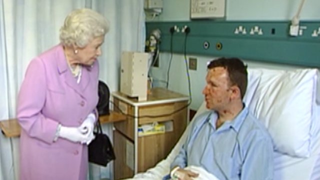 The Queen with Bruce Lait just after the bombings
