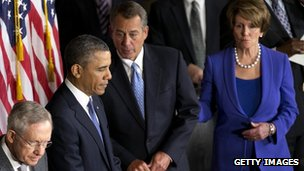 From left: Senator Harry Reid, President Barack Obama, House Speaker John Boehner and Representative Nancy Pelosi in Washington DC 27 February 2013