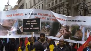 Protest by UK Tamils against the Sri Lankan government in June 2012 