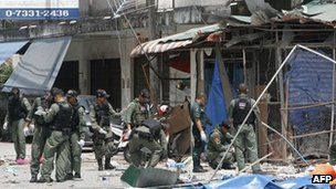 Thai police at the scene of a bomb attack in Pattani February 17, 2013.