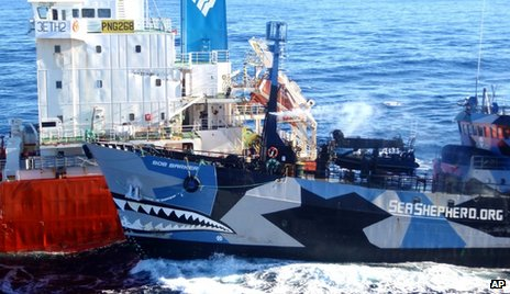 Image from ICR showing Sea Shepherd's Bob Barker (R) and Sun Laurel tanker (25 Feb 2013)