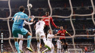 Danny Welbeck heads Manchester United in front against Real Madrid