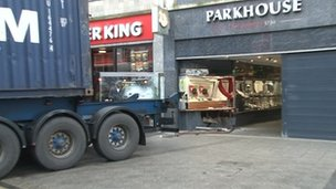 The lorry trailer outside Parkhouse jewellers