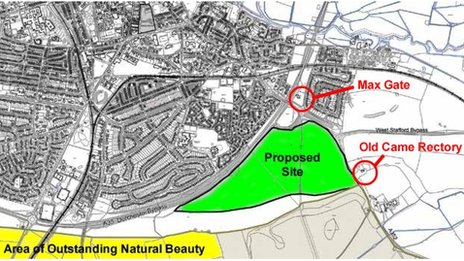 A map of the proposed development site