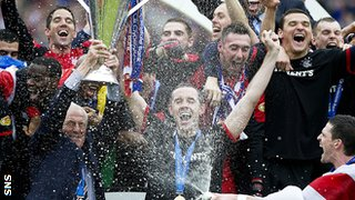 Rangers celebrate winning the SPL in 2011