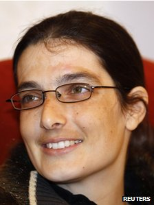 Swiss teacher Sylvia Abrahat, freed in  Yemen, at Doha International Airport, 28 February