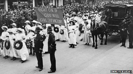 Emily Davison's funeral in Morpeth (pic courtesy of Imperial War Museum)
