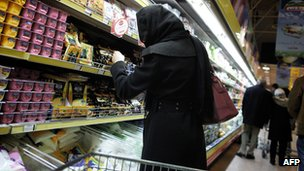 Iranian woman in supermarket