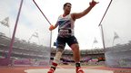 Aled Sion Davies competing in men's discus throw - F42 at the London 2012 Paralympics Games