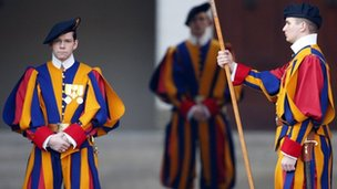 Swiss guards stand at the entrance of Pope Benedict XVI's summer residence in Castel Gandolfo, 28 February 2013