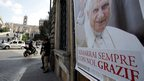 "A poster of Pope Benedict XVI with writing reading in Italian,"" You will stay always with us. Thank you"" near Rome's Capitol Hill, on Thursday"