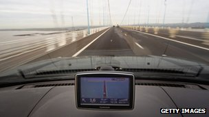Sat-nav on a bridge