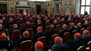 The Pope speaks to cardinals at the Vatican. Photo: 28 February 2013