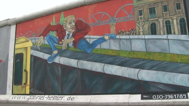 "Mural on eastern ""death zone"" side of Berlin Wall"