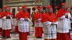 Cardinals walk in procession to the Sistine Chapel at the Vatican, at the beginning of the conclave that elected Benedict XVI, file pic from 18 April 2005