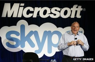 Steve Ballmer with Skype logo