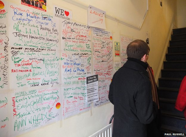 Labour Party campaign centre: wall of helpers&#039; names