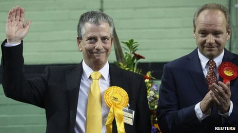 Liberal Democrat candidate Mike Thornton and Labour's John O'Farrell