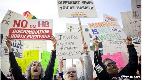 Protest in favour of Proposition 8, California (file pic, November 2008)