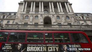 Bus outside Bank of England bearing Broken City film ad