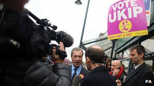 Nigel Farage giving a TV interview in Eastleigh