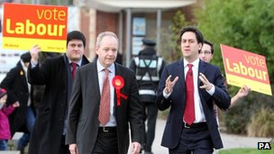 Labour leader Ed Miliband and the party's candidate John O'Farrell