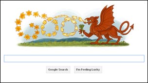 Google home page for St David&#039;s Day
