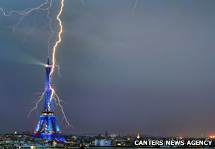 Eiffel Tower struck by lightning