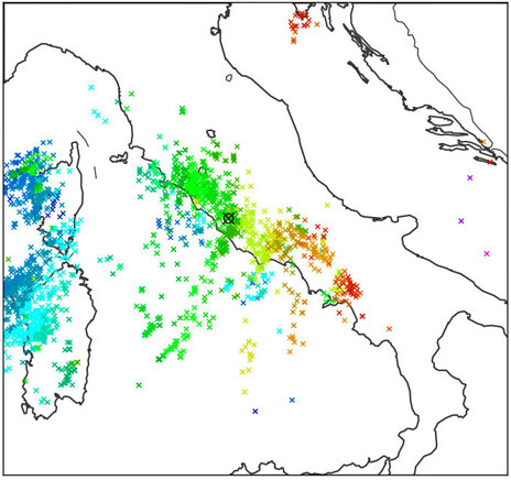 Met Office map of lightning strikes in Italy