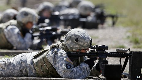 US soliders at a firing range in Fort Campbell,
