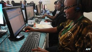 Kenyan electoral officials make final touches at the election centre's call centre on 1 March 2013 in Nairobi