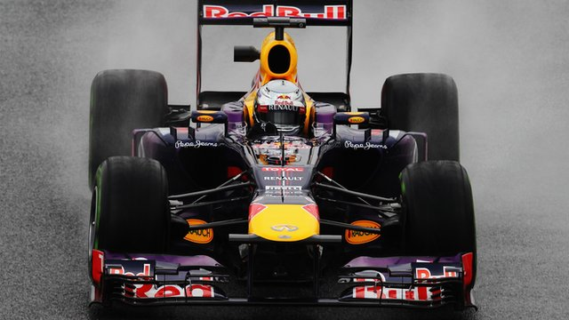 Sebastian Vettel on the wet Barcelona track