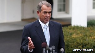 House Speaker John Boehner outside the WHite House, 1 March 2013
