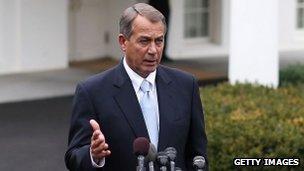 House Speaker John Boehner outside the WHite House, 1 March 2013