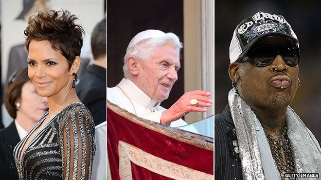 Halle Berry, the now-Pope emeritus, and Dennis Rodman